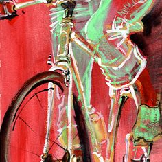 """BICYCLE ART - Original Painting -- """"Fork Front"""". $35.00, via Etsy."""