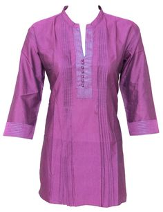 Beautiful Indian Cotton kurta with silver thread lines and pleats work. Buy it now in Etsy.com. Can be customized according to your measurements.