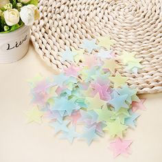Fluorescent Stars Wall Stickers - 100pcs colorful