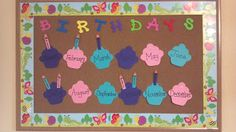 The Weth's: Classroom Birthday Display Kids Bulletin Boards, Birthday Bulletin Boards, Birthday Board, Birthday Wall, Birthday Display In Classroom, Classroom Displays, Toddler Classroom, Preschool Classroom, Classroom Ideas