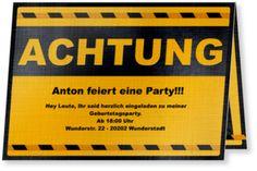 """Einladungskarte zum Geburtstag - """"Achtung"""""""