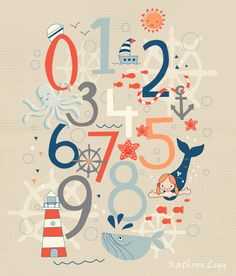 Dear Elise by Kathrin Legg Children's Nautical theme Wall Art. #illustration #art #licensing