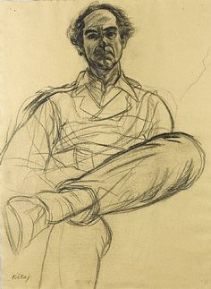 "internatural: "" R. Kitaj Portrait of Philip Roth. Charcoal on handmade paper. Source: masterart http:// "" Human Figure Sketches, Human Figure Drawing, Figure Sketching, Guy Drawing, Life Drawing, Drawing Sketches, Painting & Drawing, Drawings, Philip Roth"