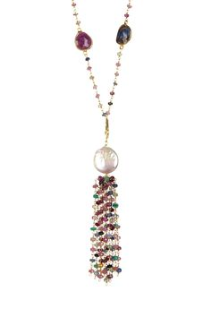 Natural Sapphire & 11-14mm Freshwater Pearl Tassel Station Necklace on @HauteLook