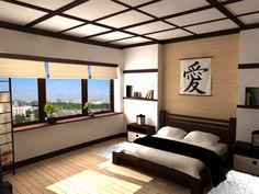 modern japanese style bedroom decorating