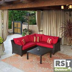 This four-piece outdoor sectional set from Cantina is perfect for adding a comfortable place for family and guests to relax on your patio. The espresso-finished three-piece sofa and coffee table will add a touch of sophistication and elegance.