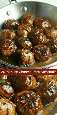 20 Minute Chinese Pork Meatballs Flavorful 20 minute Chinese pork meatballs are fresh, fast take on dinner. This savory Asian inspired pork meatball recipe is the perfect combination of salty, a little sweet, and mildly spicy. Meatball Recipes, Pork Recipes, Asian Recipes, Cooking Recipes, Cooking 101, Free Recipes, Recipies, Chinese Pork, Chinese Dinner