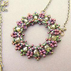 Beaded Loop Pendant in Lavender and Spring Green by LaBellaJoya
