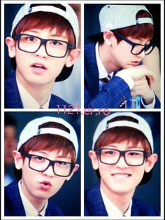#chanyeol #exo Chanyeol with glasses, always adorable ♥ (Credits in that picture)