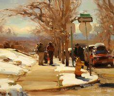 Kim English > March in Colorado Winter Landscape, Landscape Art, Landscape Paintings, Oil Paintings, Landscapes, Painting Snow, Figure Painting, Urban Painting, Sketch Painting