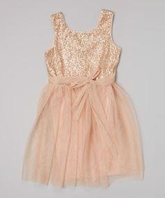 Coral Sequin Sash Dress - Girls by Zunie & Pinky #zulily #zulilyfinds