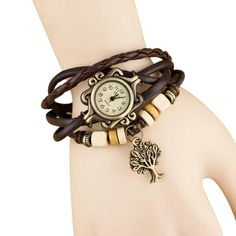 Quartz Weave Around Leather Bracelet Lady Woman Wrist Watch