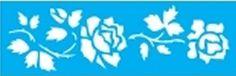 Stencil de Rosas com Folhas 10 x 30cm - JB 779 - Stencil 10 x 30cm - Stencil ou molde vazado - Empório Janial