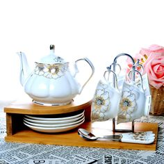 13PC European Handmade Ceramics Coffee Set Coffee Pot Mug Black Tea Cup and Saucer Spoon with Wooden Shelf Afternoon Tea Set New #Affiliate
