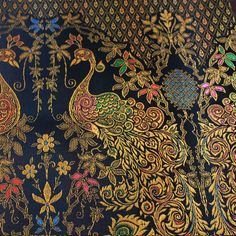 colors of  Thai silk on gold and black peacock  vintage  by 18dec, $20.00