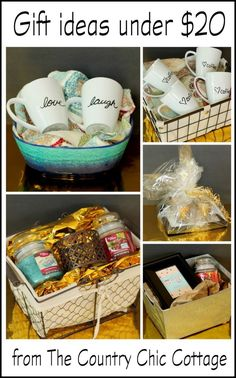 Get 5 gift ideas under $20 here -- including the basket! Gift basket Ideas #giftbasketideas #giftbaskets