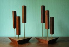 Danish Modern Teak Candle Holder Pair