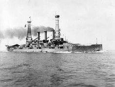 USS Louisiana Battleship BB-19 seen in the 1910's. During the war, Louisiana was assigned as a gunnery and engineering training ship, cruising off the middle Atlantic coast until 25 September 1918. At that time she became one of the escorts for a convoy to Halifax, Nova Scotia. Beginning on 24 December, she saw duty as a troop transport, making four voyages to Brest, France to carry troops back to the United States.