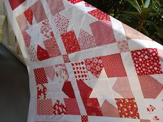 Snippets of a Quilter: Red and White Quilt- blocks made with charm sqs