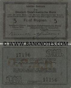 German East Africa 5 Rupien 1916 -  Printer: Deutsch-Ostafrikanische Zeitung G.M.B.H. Daressalam. Stamped signature: A. Frühling.