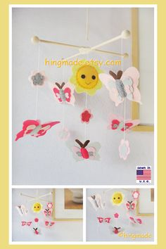 Butterfly Mobile, Baby Mobile, Child Room Decor, Baby Girl Mobile, Garden Butterfly, Pink Gray Yellow theme, Custom Mobile