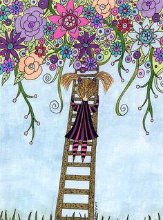 Garden in the Sky Fine Art Print Child Print by ValerieLorimer, $25.00