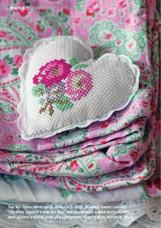 DIY cross-stitch pincushion from latest issue of Sweet Living magazine, free online magazine