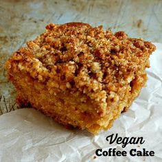 A tender vegan coffee cake with a crunchy cinnamon topping.  Perfect for your next brunch!