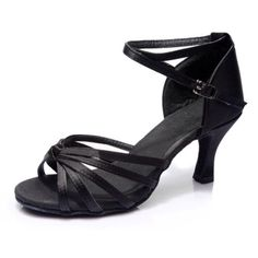2bdb3a2a033d Women s Black Satin Heels Sandals Latin Salsa With Ankle Strap Dance Shoes  D602003 Cheap Womens Shoes
