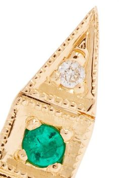 Deco Point 14-karat Gold, Emerald And Diamond Earring - one size Jennie Kwon Designs