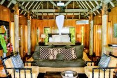 Inside the Duavata villa at the Namale resort in Fiji Thatched Roof, Wood Interiors, South Pacific, Luxury Villa, Fiji, Perfect Place, Layout, Places, Outdoor Decor
