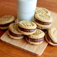 Peanut Butter Sandwich Cookies with Nutella Marshmallow Cream Cheese Filling. daringgourmet.com