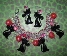 RESERVED+LISTING+Black+Cat+Charm+Bracelet+and+Earrings+by+Jynxx,+$35.00