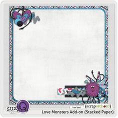 """Love Monsters"" stacked paper #freebie at SuzyQScraps.com #digiscrap #digifree"