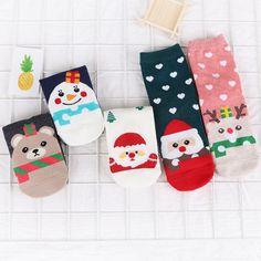 6b44aba3ed77 New Design Christmas Santa Claus Socks Women Cotton Short Elk Winter Socks  Cartoon Deer Snow Man
