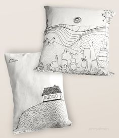 iiiinspired: idea for a crafty weekend _ throw pillow decorated with a textile pen