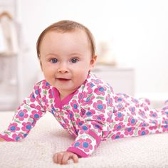 JoJo Scandi Flower Baby Footie. An eye-catching style for cheery babies.