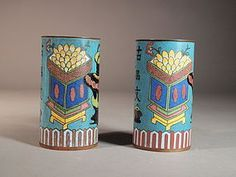 Chinese cloisonne brush pots (pair)