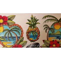 """Tropical pineapple  #michaellock69 #mytattoodesigns #drawings #oldschooltattoo…"