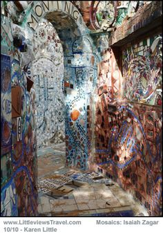 Isaiah Zagar mosaics all over Philadelphia.  Documentary In A Dream shows his incredible volume of work.  Unbelievable.
