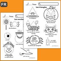 GRATUIT / FREE L'enfant s'exerce à tracer des cercles et des triangles afin de compléter les images au thème de l'Halloween.