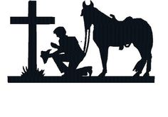 BUY GET 1 FREE - Machine Embroidery Design - Cowboy Kneeling at Cross With Horse Silhouette - Christian Cowboy Praying Embroidery Design by on Etsy Embroidery Files, Embroidery Patterns, Hat Embroidery, Horse Silhouette, Silhouette Design, Silhouette Cameo, Fence Art, Wood Burning Patterns, Cowboy Art
