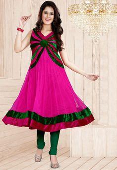 A visually stunning Magenta & Green Color Designer Anarkali Suit showcasing a vibrant velvet border