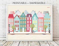 Amsterdam, ciudades, ilustraciones, digital, imprimibles, laminas IMPRIMIBLES  casitas, decoracion, cuadros, Laminas decorativas