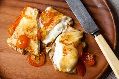 """Orange Ricotta Pillows with Lillet Kumquat Compote: """"The kumquats are simmered in a mixture of Lillet, honey, agave nectar, cardamom seeds and cinnamon, and perfectly set off the crepe and its ricotta orange filling."""" - Food52"""