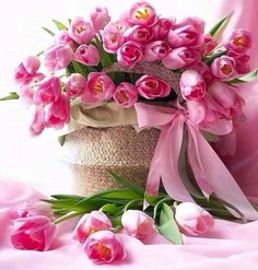 Another Day, Another Time Beautiful Rose Flowers, Beautiful Flower Arrangements, Floral Arrangements, Beautiful Flowers, Birthday Wishes Flowers, Happy Birthday Flower, Happy Birthday Pictures, Pink Tulips, Pink Roses