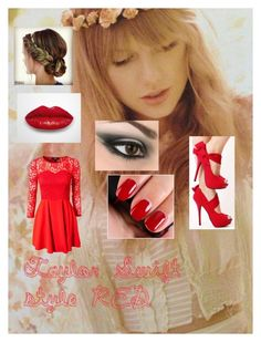 """Taylor Swift style RED"" by klarcy-bieber ❤ liked on Polyvore featuring Dry Lake"