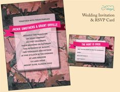 "Pink camo wedding invitation featuring a pink mossy oak camo backgrounds with a light pink overlay and pink ribbon. Great for outdoor wedding! Also comes with a pink camo response card featuring ""The Hunt is Over!"" text. #camowedding"