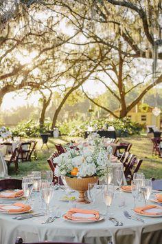 orange centerpiece | Sunglow Photography #wedding