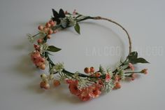 peach and green flower crown